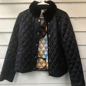 Coach rabbit fur lined diamond quilted coat